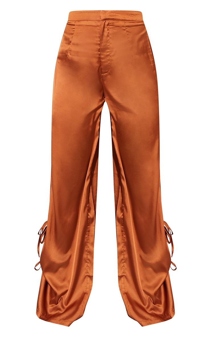 Rust Satin Wide Leg Tie Trousers 5