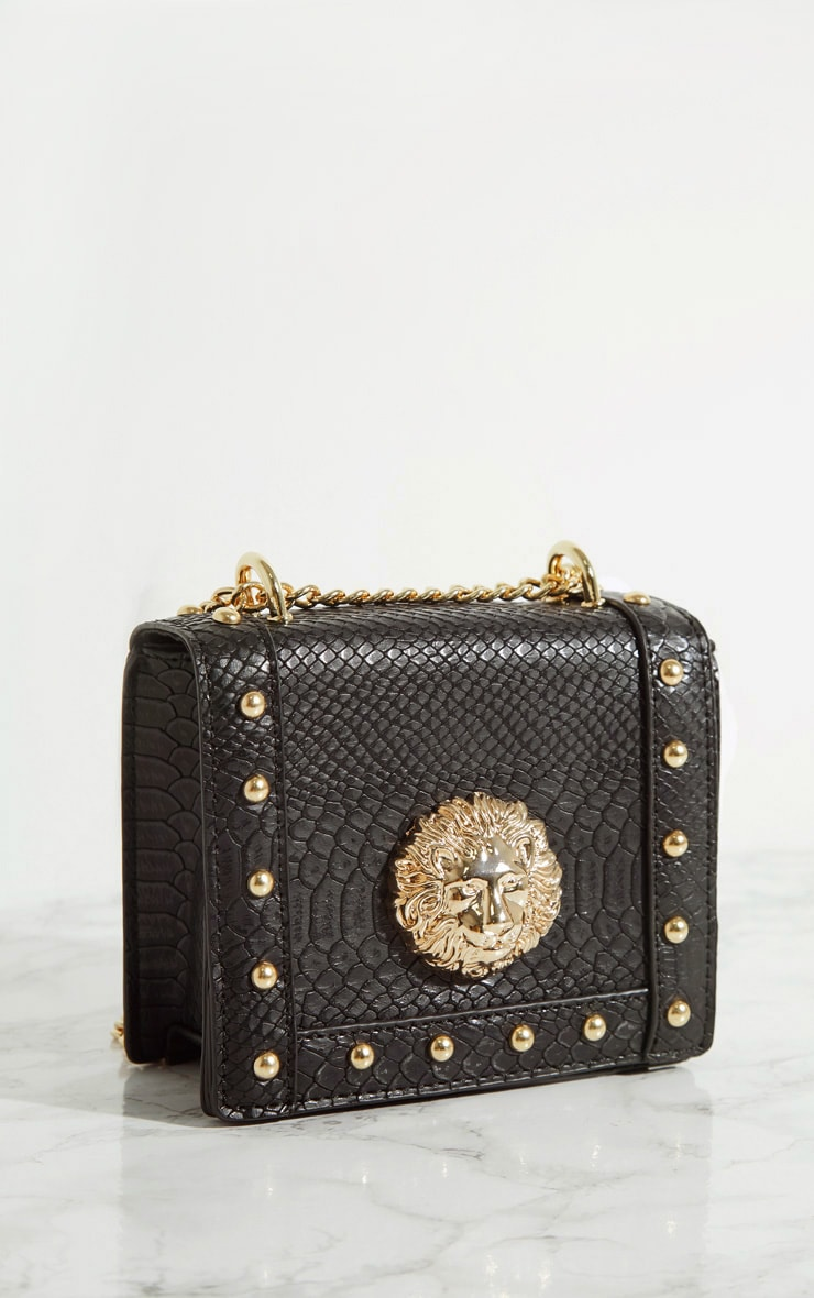 Black Lion Stud Chain Cross Body Bag 3