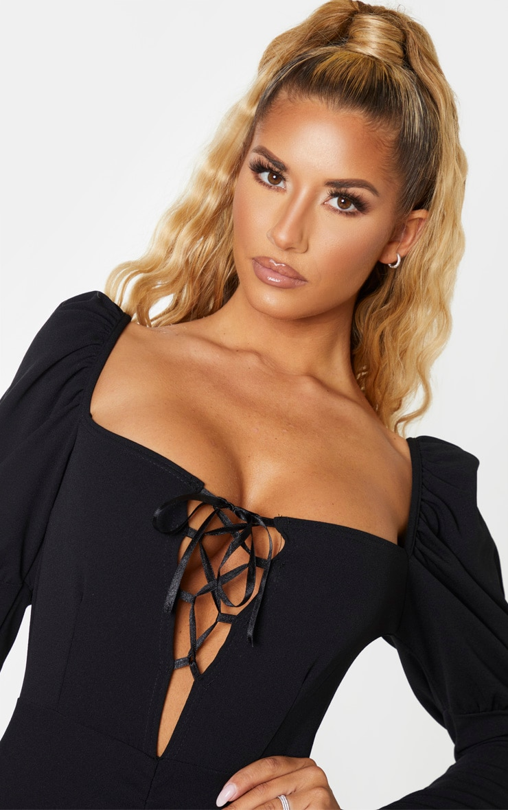 Black Long Puff Sleeve Ruched Lace Up Bodycon Dress 5