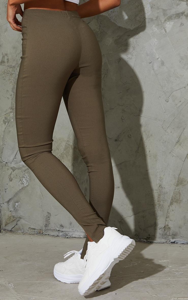 Khaki Stretch Split Hem Skinny Trousers 3
