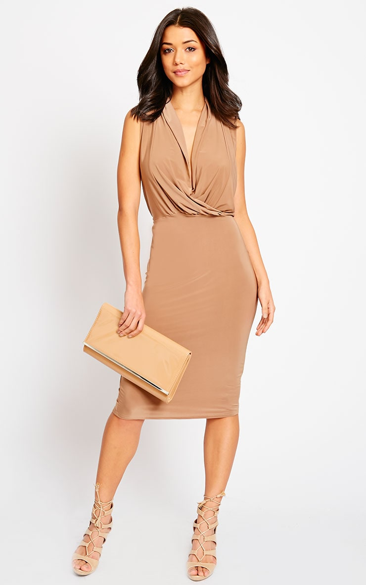 Stella Mocha Drape Midi Dress 3