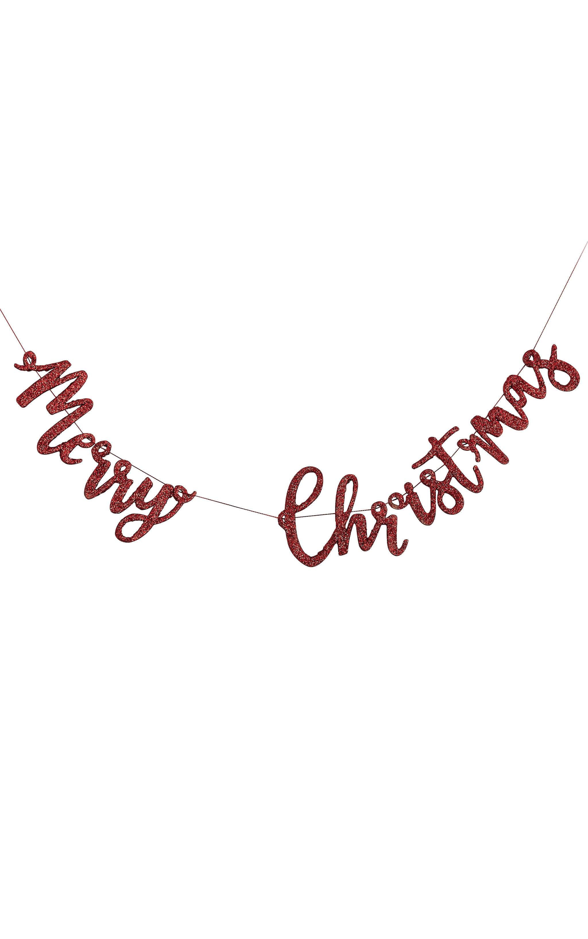 Ginger Ray Wooden Bunting Merry Christmas Red Glitter 2
