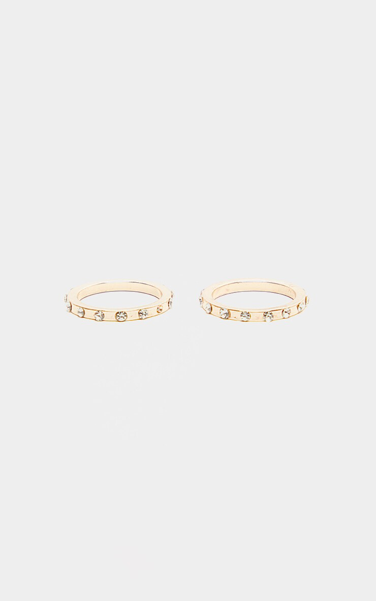 Gold Thin Band Diamante Set Rings Two Pack                  3