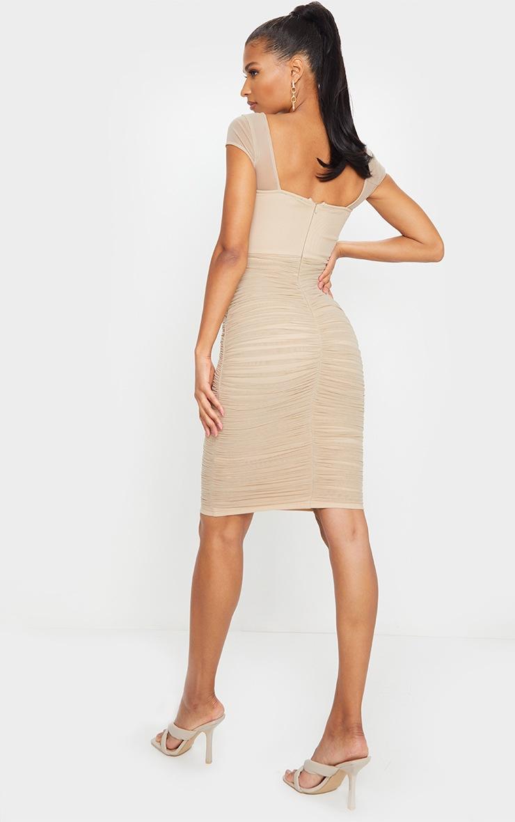 Stone Mesh Ruched Midi Dress 2