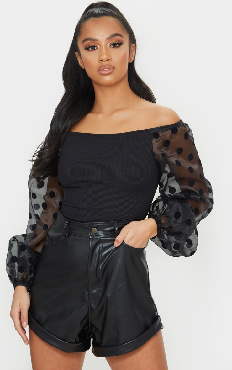 Petite Black Ribbed Polka Dot Organza Sleeve Bodysuit 1