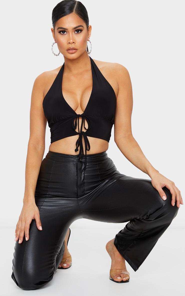 Black Slinky Plunge Halterneck Tie Front Crop Top 3