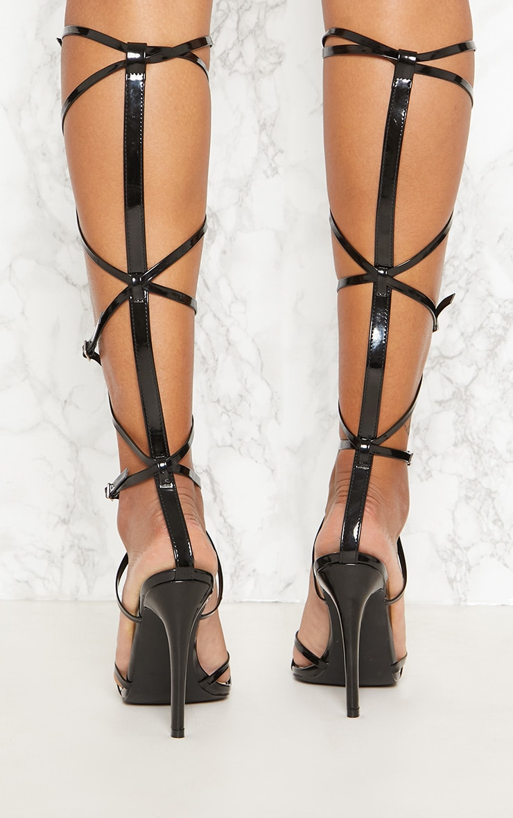 Black Extreme Gladiator Point Heels 4