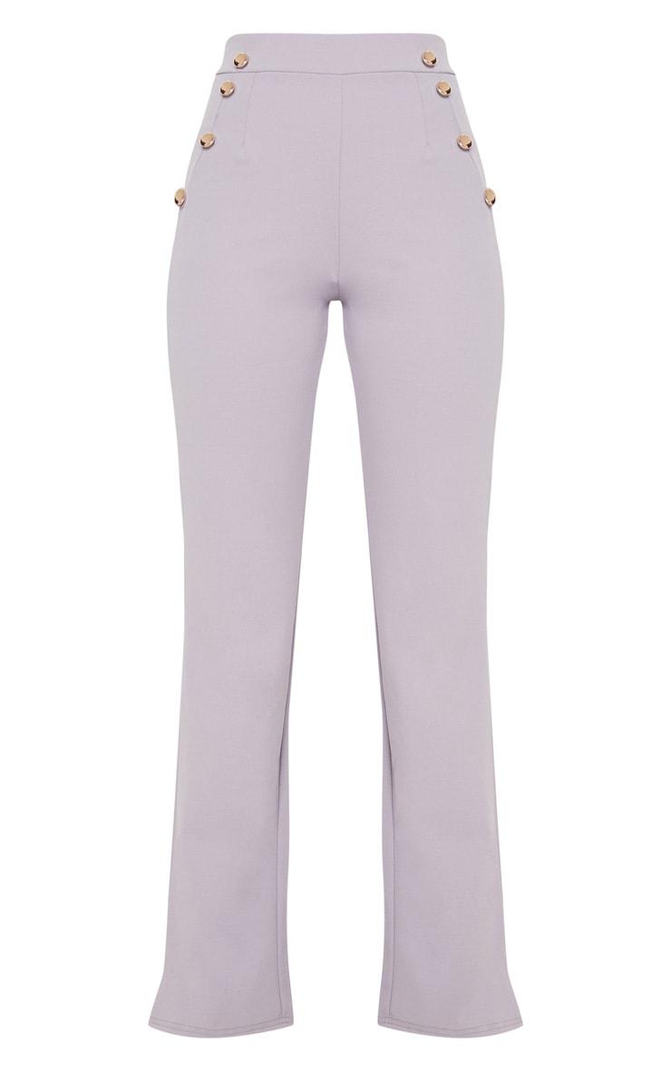 Lilac Grey Military High Waist Button Wide Leg Trousers   3