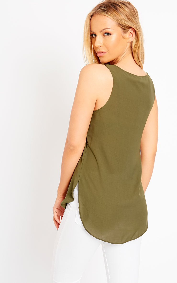 Enya Khaki Chiffon Vest  2