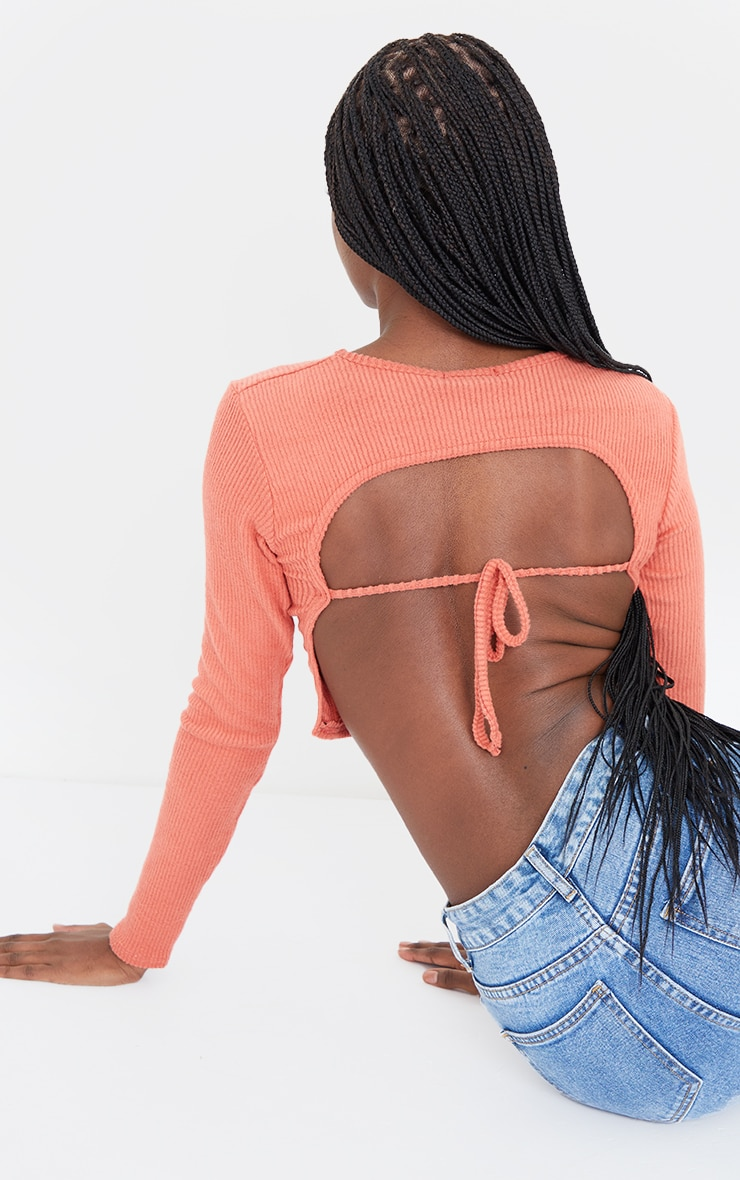 Tall Terracotta Brushed Rib Open Back Crop Top 4