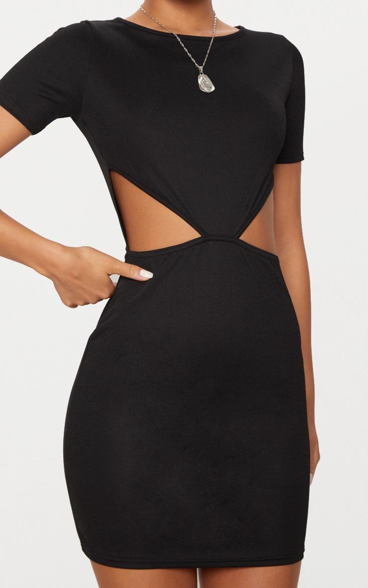 Black Short Sleeve V Cut Out Bodycon Dress 5