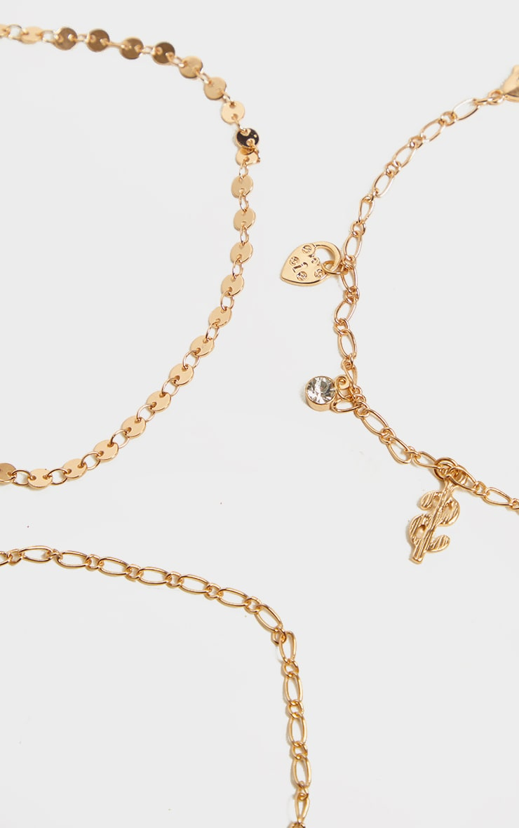Gold Chain And Mini Circle Anklet 4