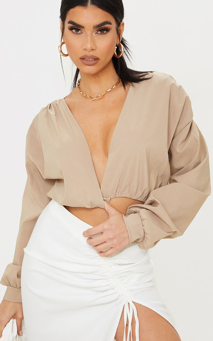 Nude Woven Plunge Long Sleeve Cropped Blouse 4