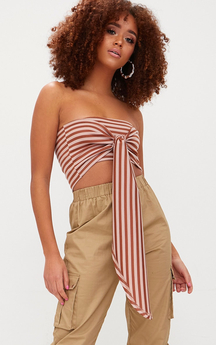Bronze Stripe Bandeau Bow Front Multiway Crop Top 1