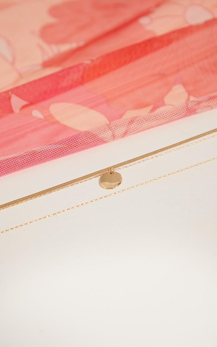 Gold Hammered Pendant Layering Necklace 3