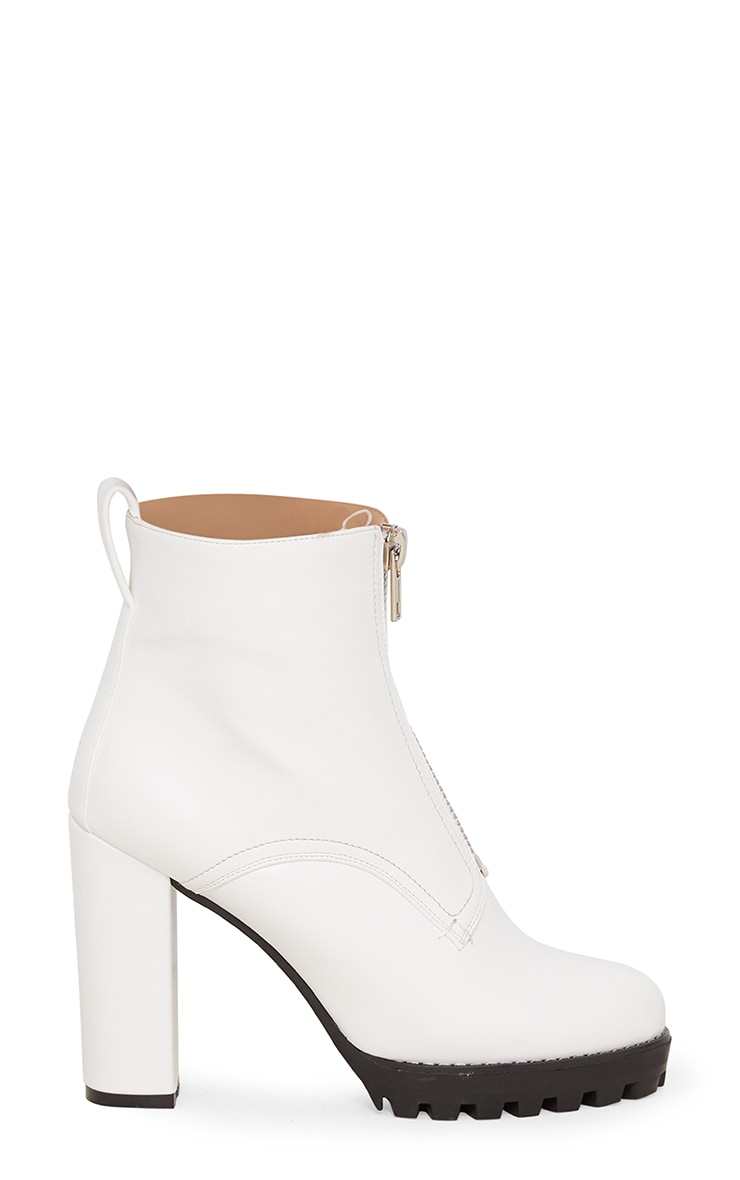 White Platform Cleated Zip Front Ankle Boot 3