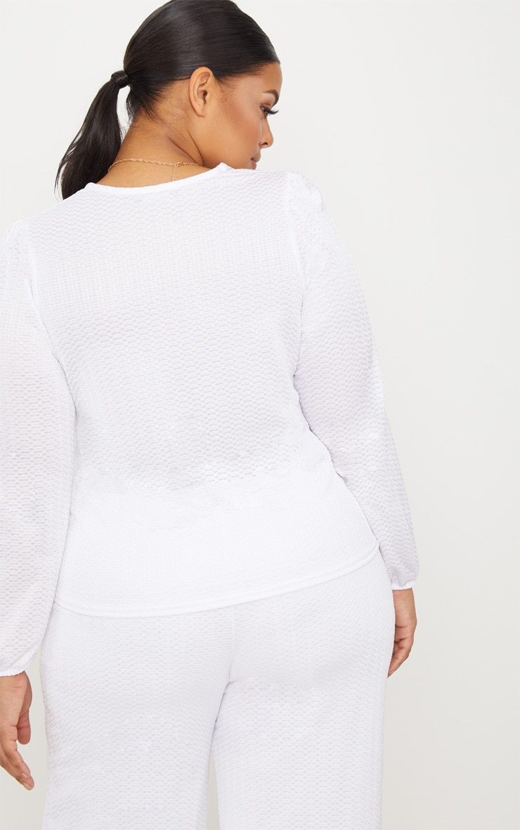 Plus White Textured Plunge Top 2