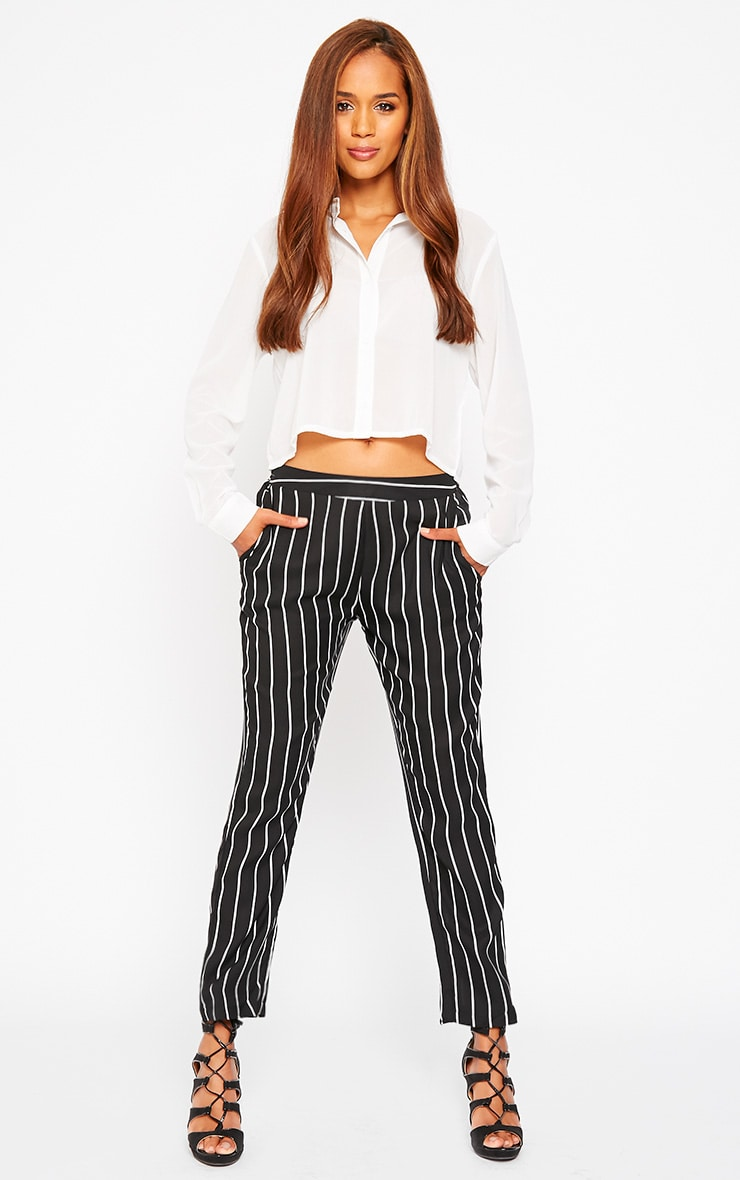 Ariela Black Stripe Trousers 1