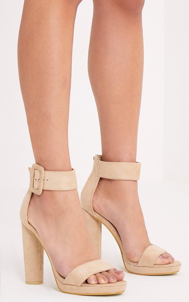 Ettie Stone Faux Suede Chunky Heels 1