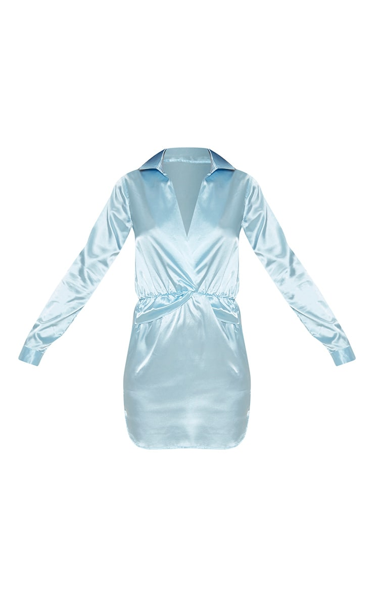 Baby Blue Twist Front Silky Shirt Dress 3