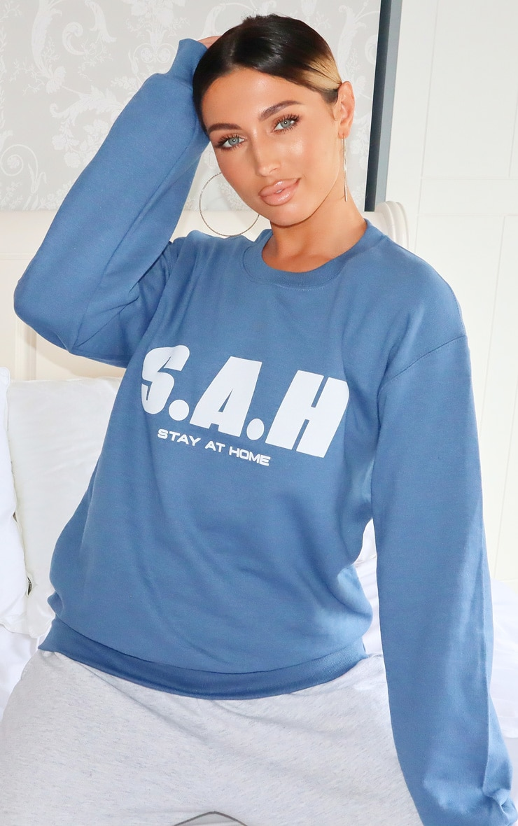 Blue Stay At Home Slogan Sweater 1