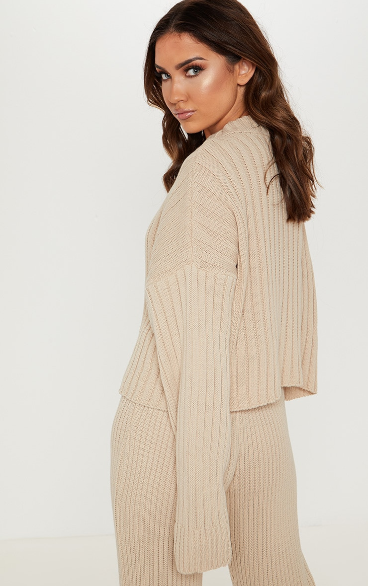 Stone Ribbed Knitted Oversized Jumper  2
