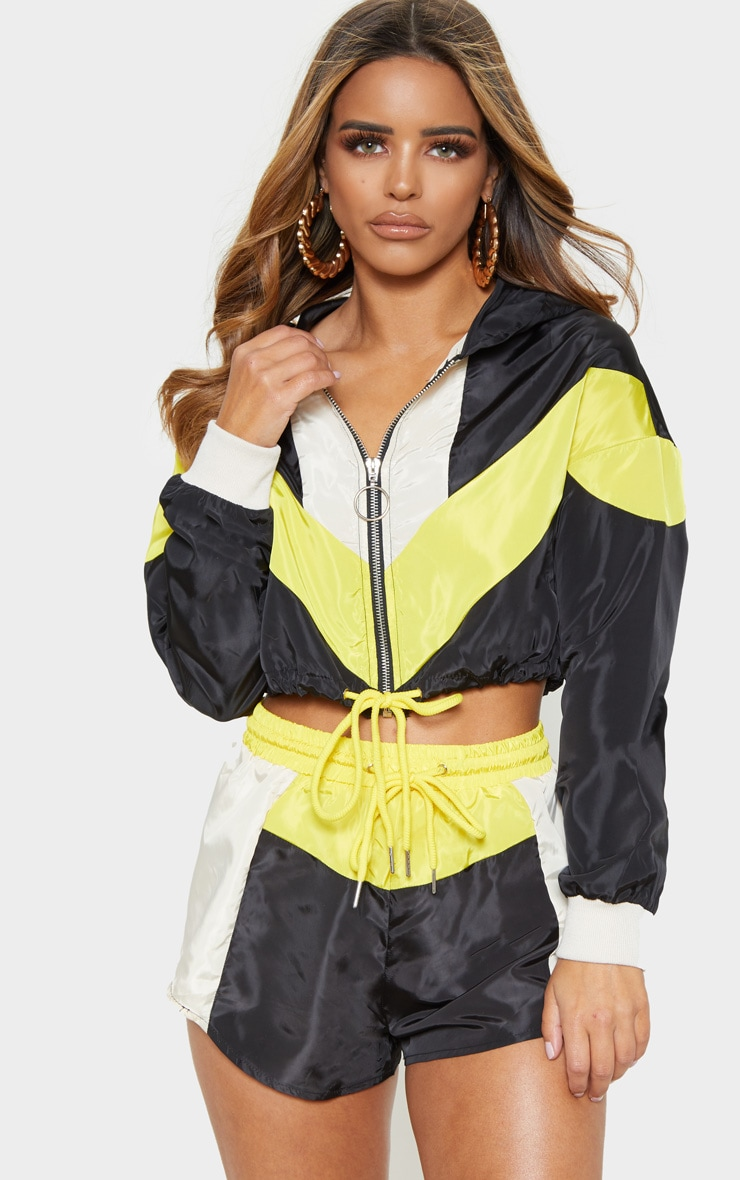 Petite Cream Colourblock Hooded Shell Suit Crop Windbreaker 2