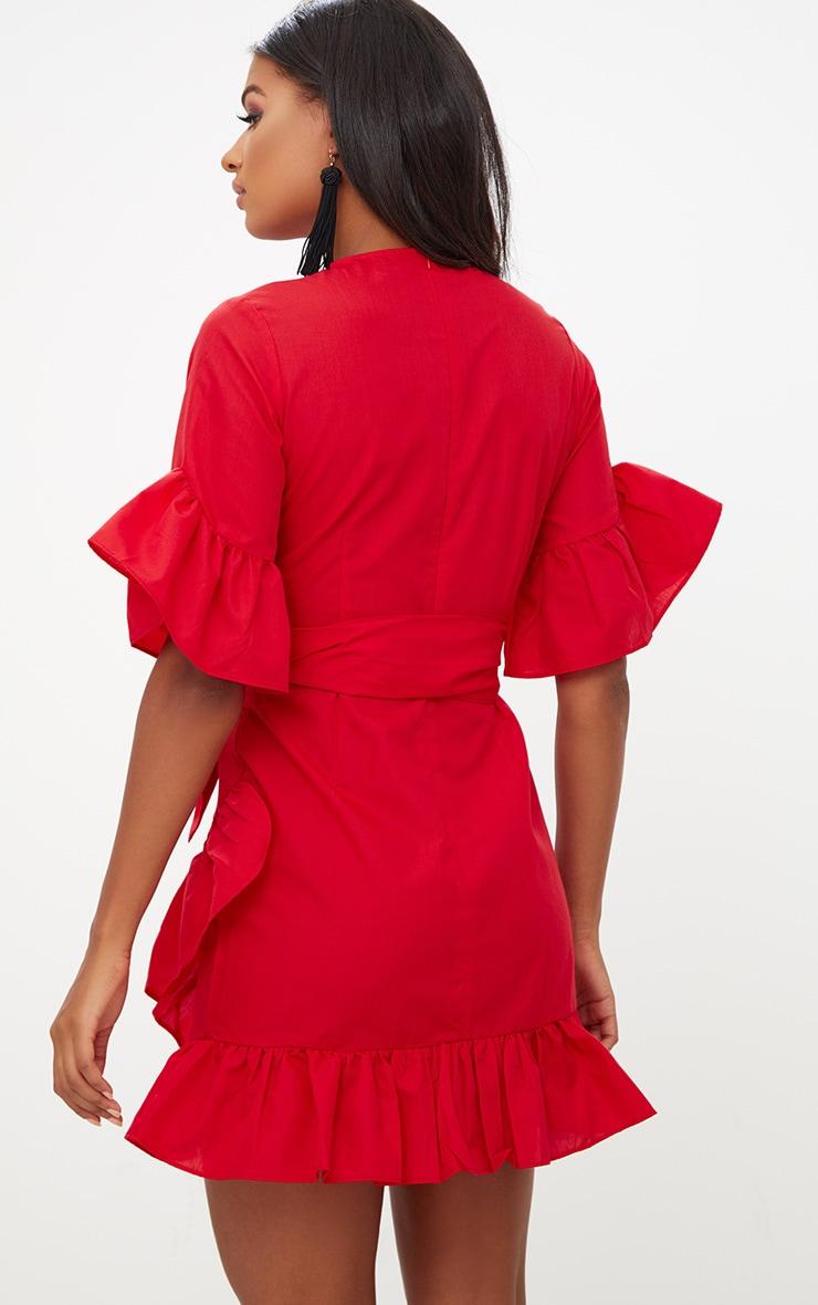 Red Frill Detail Mini Dress 2