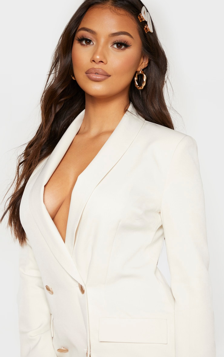 Petite Cream Button Woven Blazer Dress 5