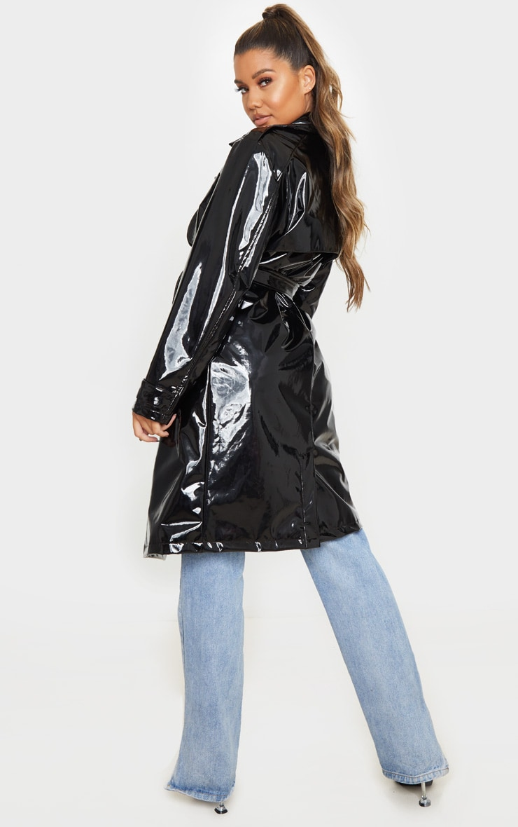 Black Belted Patent Trench Coat 2