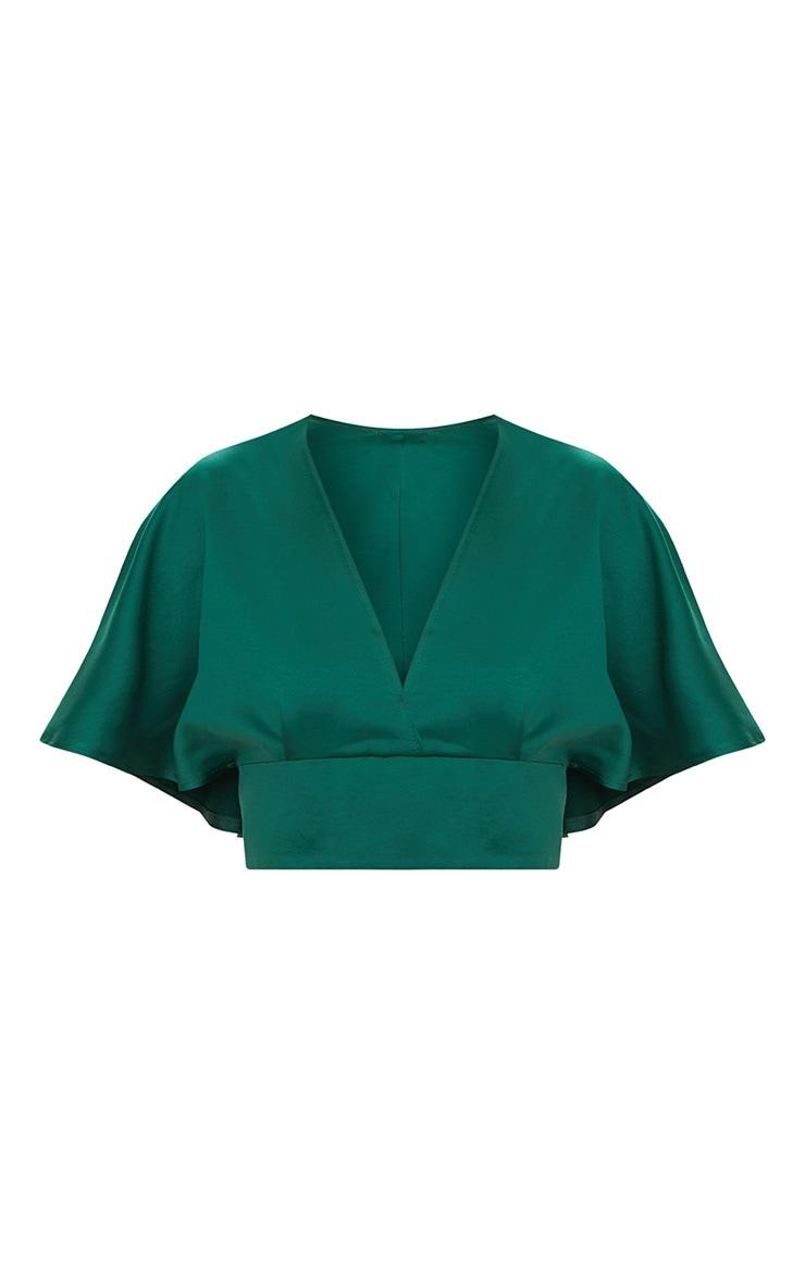 Emerald Green Satin Flare Sleeve Plunge Crop Top  3