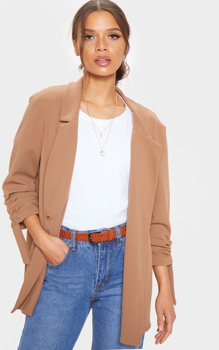 Camel Ruched Sleeve Blazer 1