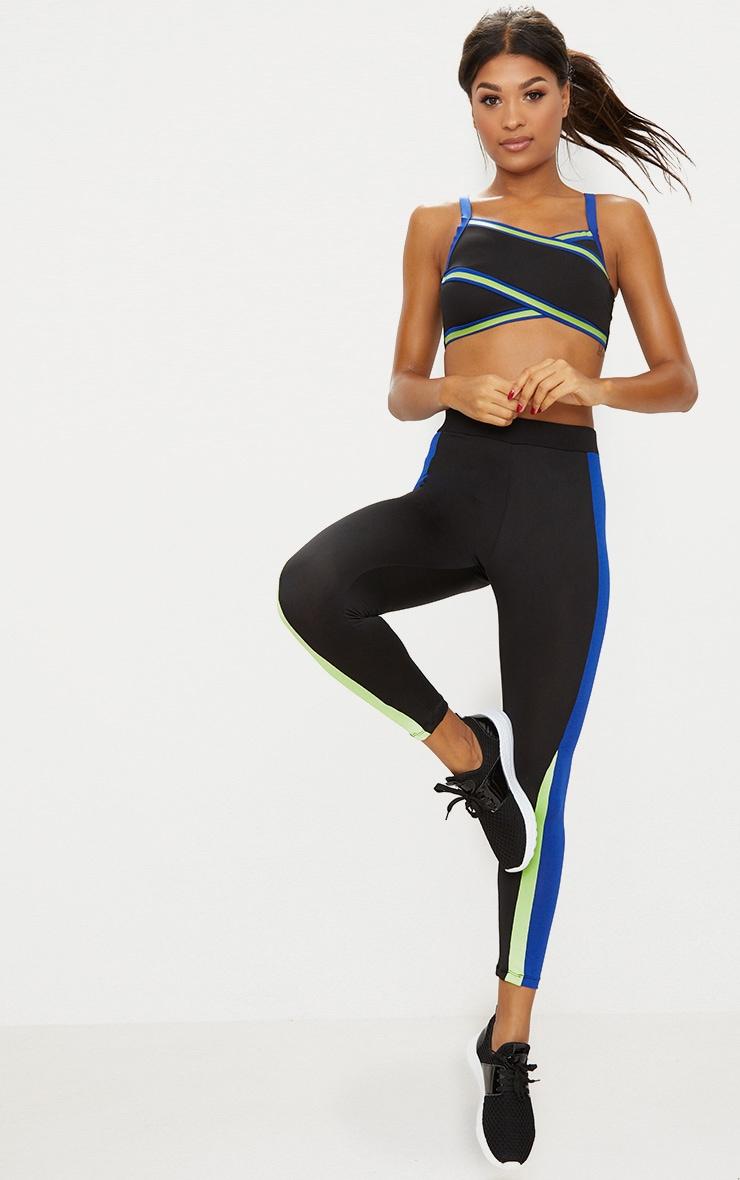 Black Panelled Contrast Sports Leggings 1