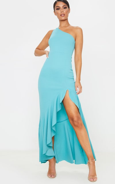 Dusty Turquoise One Shoulder Frill Split Maxi Dress