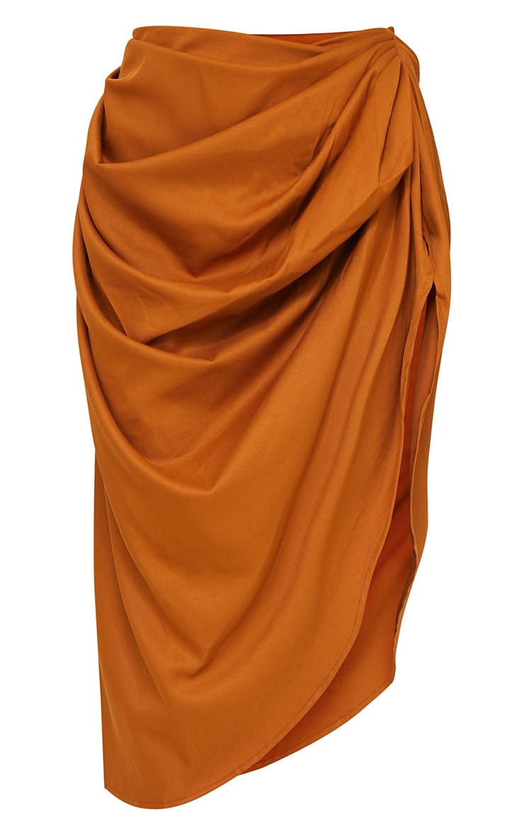 Brown Ruched Side Midi Skirt 5