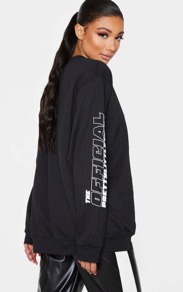 Sweat noir à slogan The Official PrettyLittleThing 2020  1