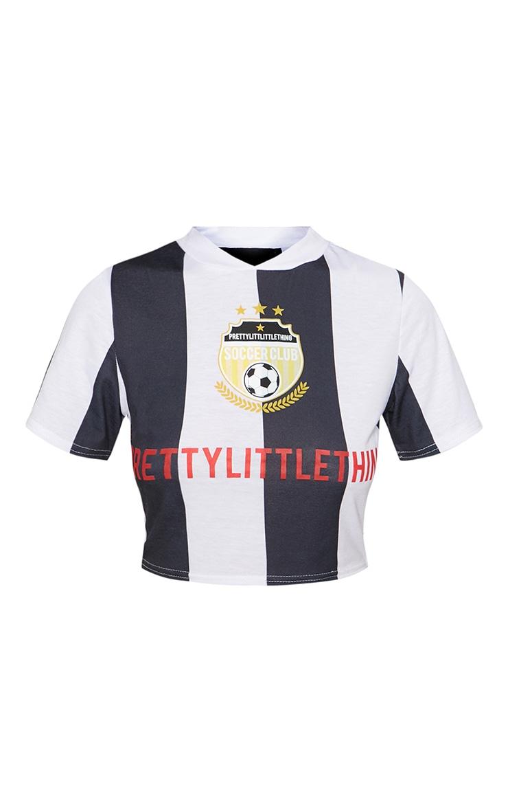 PRETTYLITTLETHING Black Soccer Sports Stripe Crop Top 3