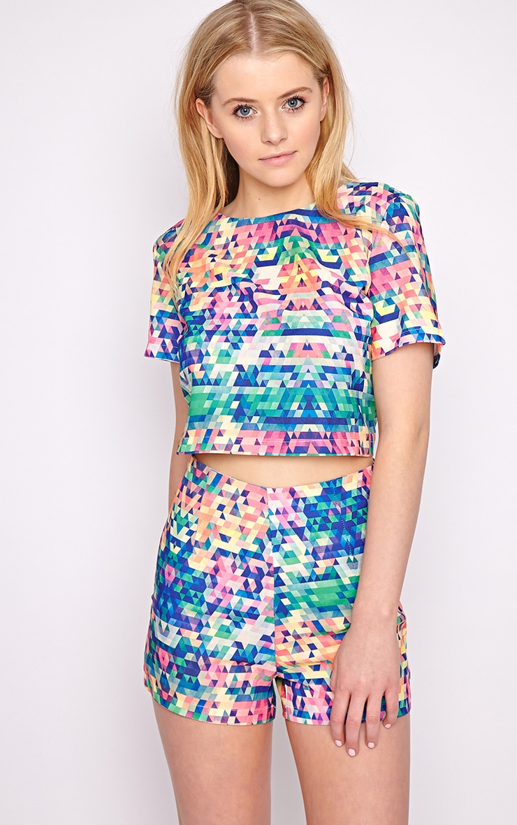 Lacey Multi Print Crop Top  1