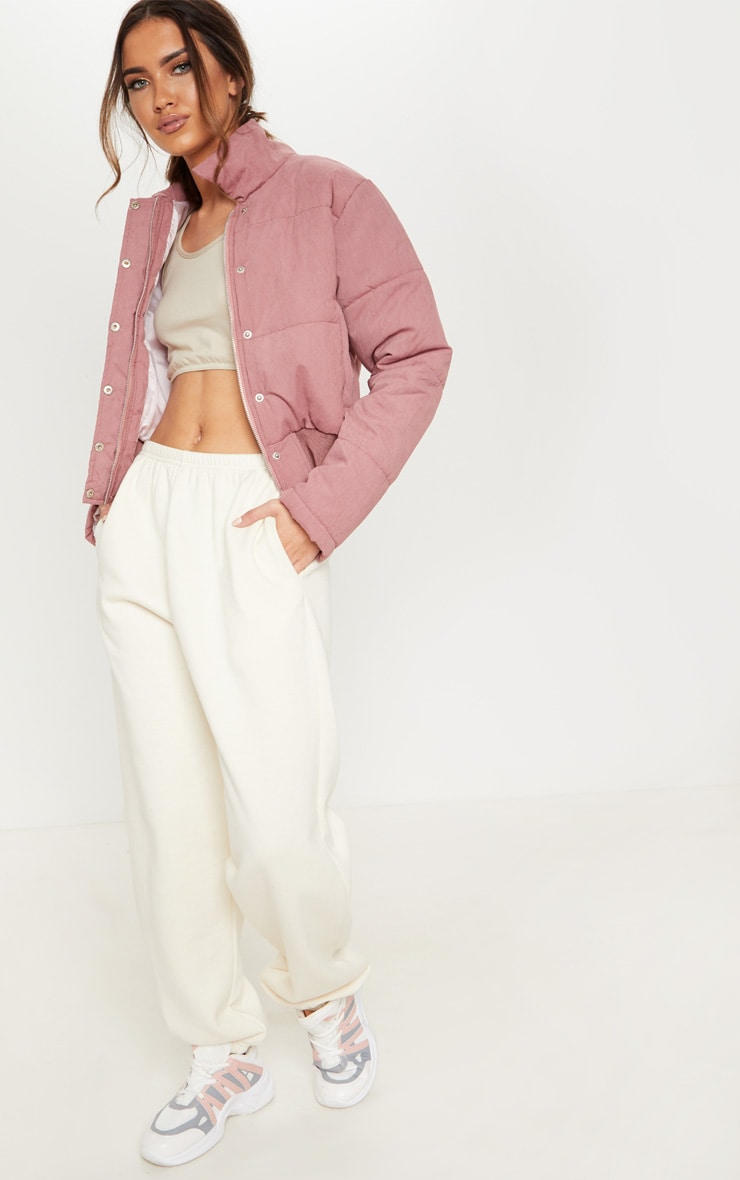 Pink Peach Skin Cropped Puffer Jacket 4