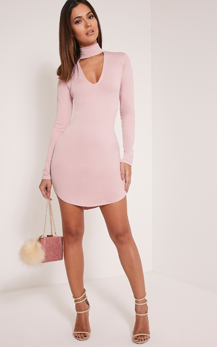 Arianna Dusty Pink Crepe Choker Detail Bodycon Dress 5
