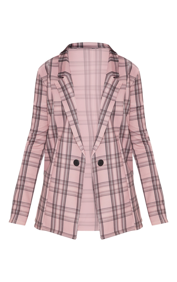Pink Checked Boyfriend Blazer  3