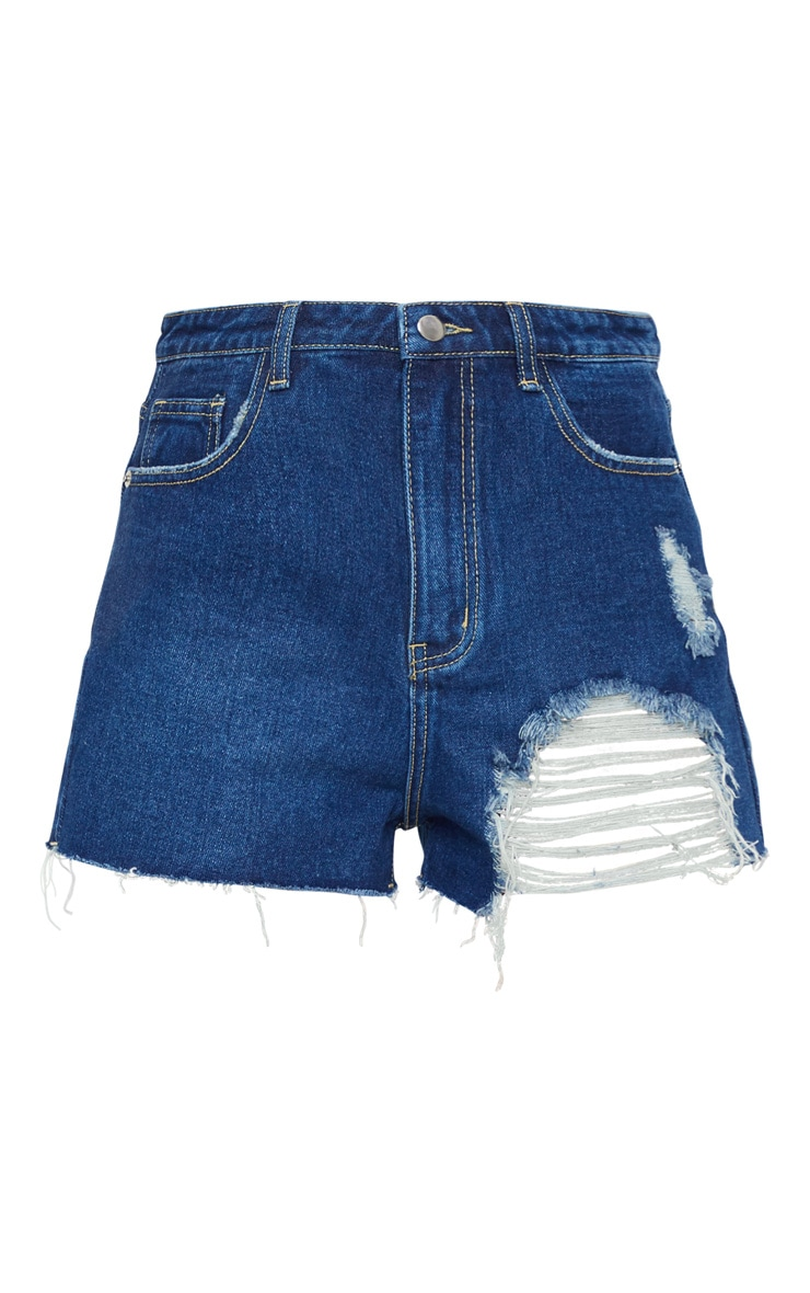 PRETTYLITTLETHING Dark Blue Wash Distressed Denim Mom Shorts 6