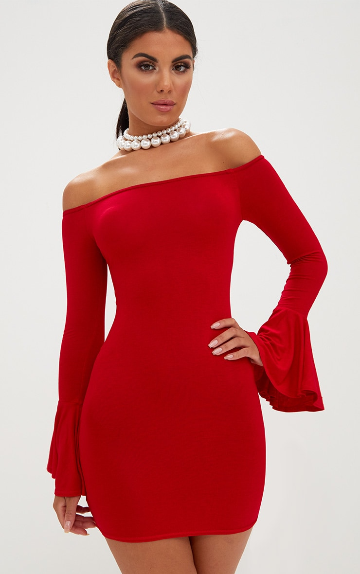 Red Frill Sleeve Bardot Bodycon Dress 1