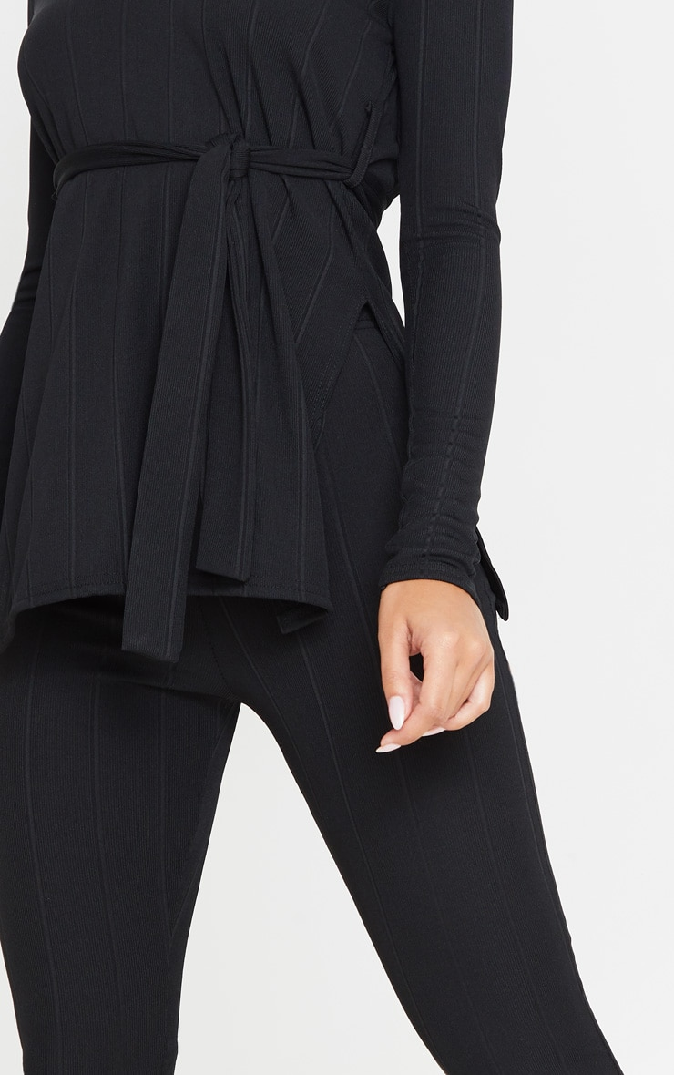 Ensemble côtelé noir top ceinturé + legging 5