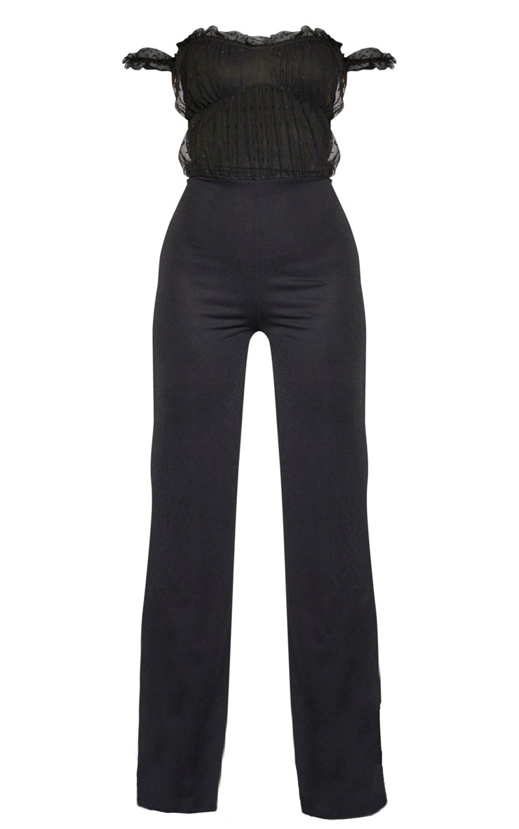Tall Black Dobby Mesh Bardot Wide Leg Jumpsuit 3