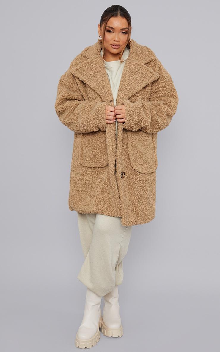 Plus Camel Borg Longline Coat 3