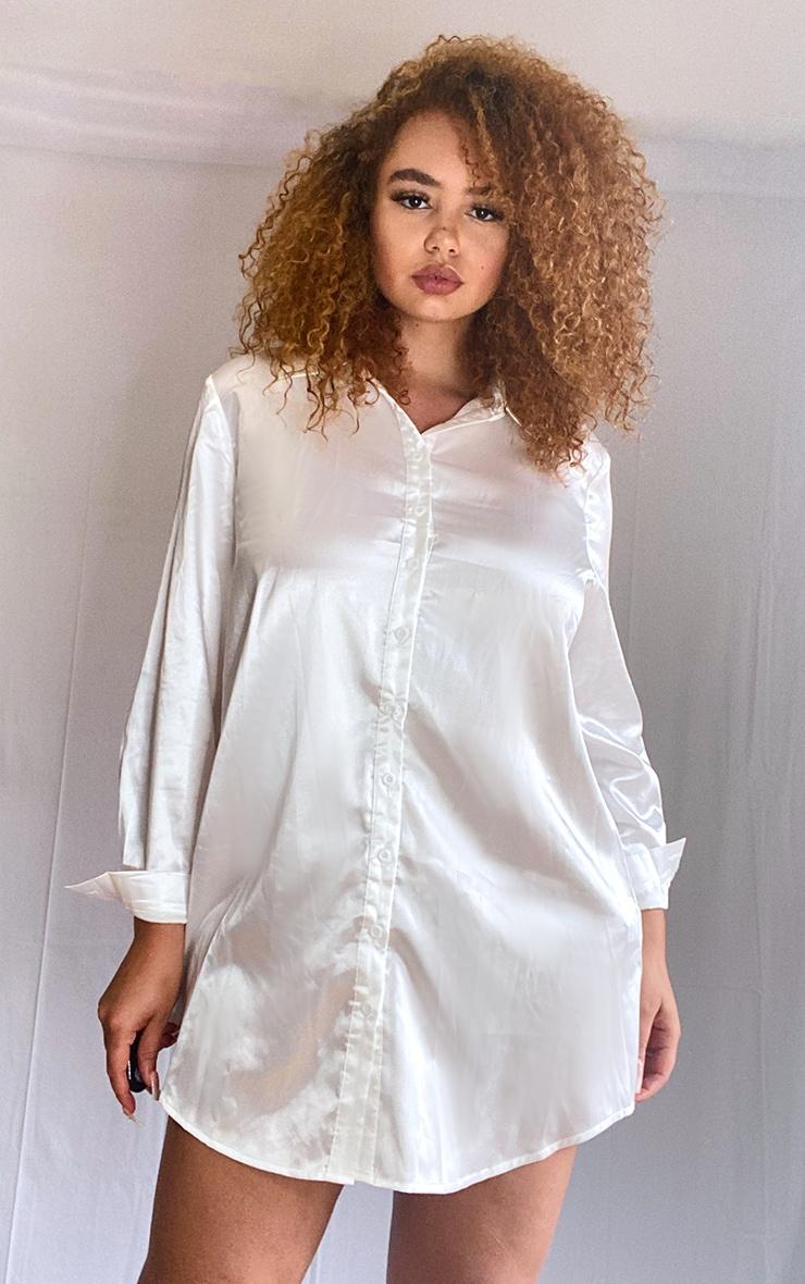 Plus Cream Satin Button Front Shirt Dress 1
