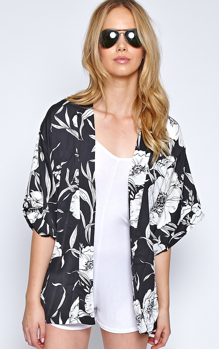 Ireni Black Bold Floral Print Kimono 5