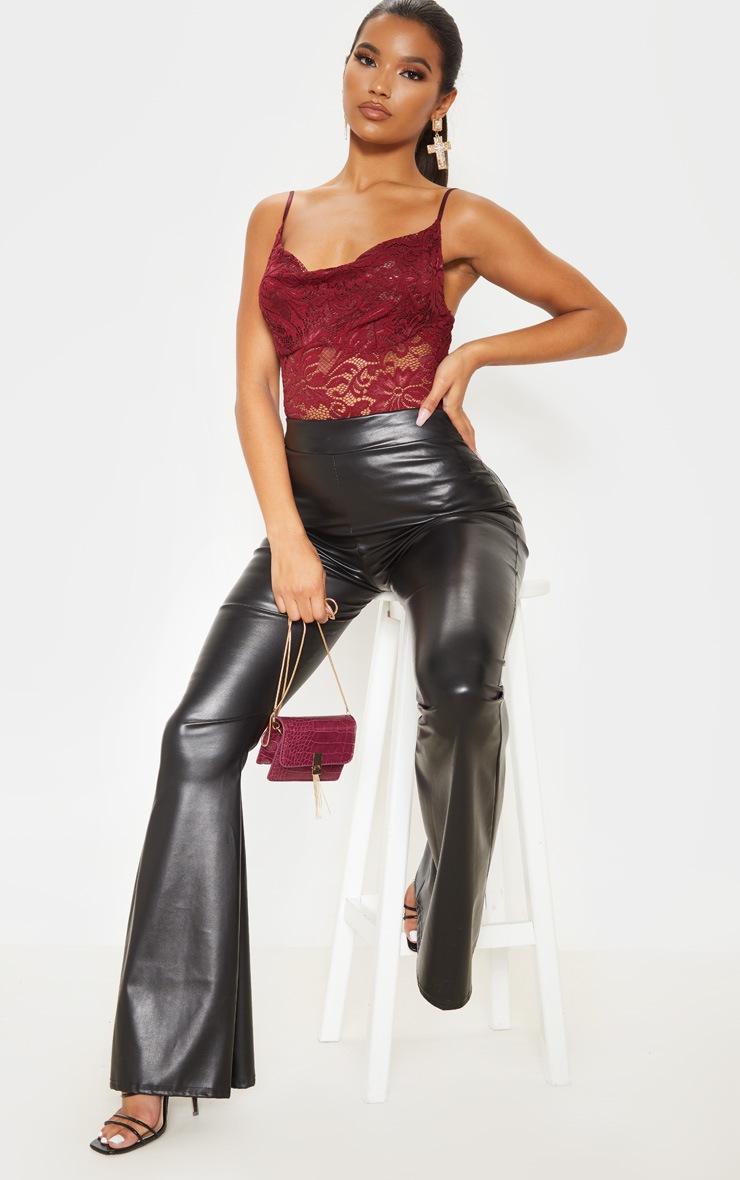Burgundy Lace Cowl Neck Bodysuit  5