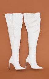 Cream Matte Pu Flat Heel Over The Knee Boots 3